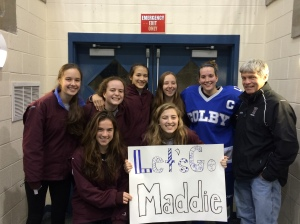 Team members enjoy Saturday night watching Middlebury and Colby play at Kenyon Arena.   The game was an opportunity to cheer on Colby Captain and former HHS Captain, Maddie Dewhirst.   Maddie graduated HHS in 2012.