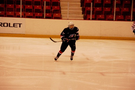HHS number 7, USA Hockey U 18 number 27 in action yesterday