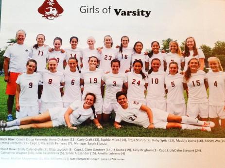 HHS soccer & hockey team varsity athletes;  #16 Maddie Lyons, # 8 Eliza Laycock, # 6 Clare Gardner, # 19 JJ Taube, # 3 Kelly Brigham, # 10 Cate Wagner, # 1 Mahler Meyerrose, # 21 Ella Williams